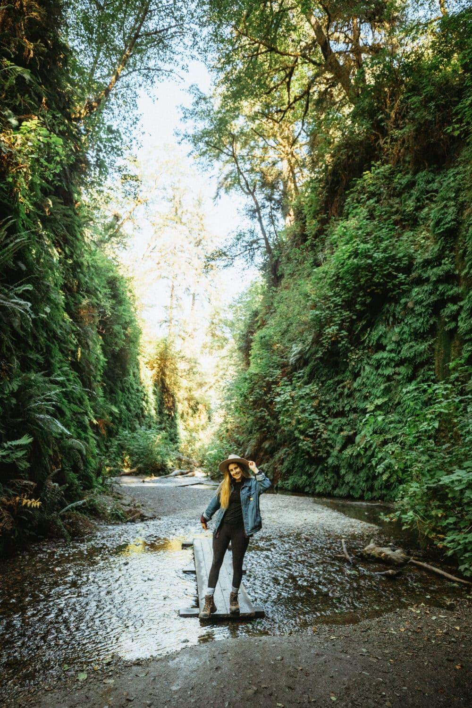 Emily Mandagie hiking in Fern Canyon California