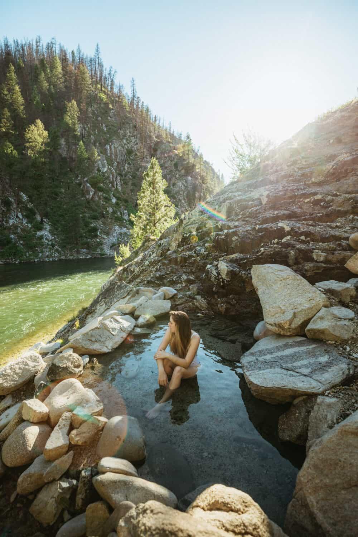 Emily Mandagie soaking in Idaho hot springs