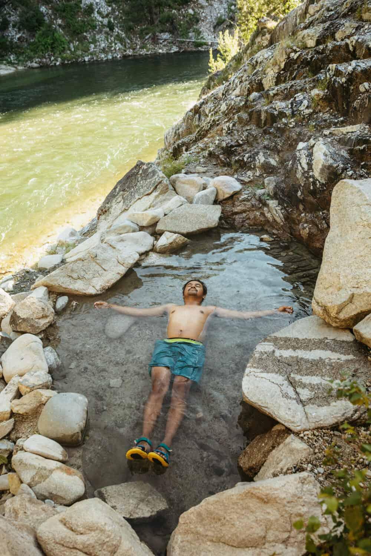 Berty Mandagie soaking in Pine Flats Hot Springs in Idaho