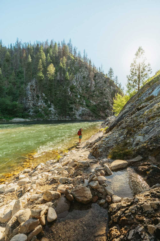 Berty Mandagie hiking near Payette River