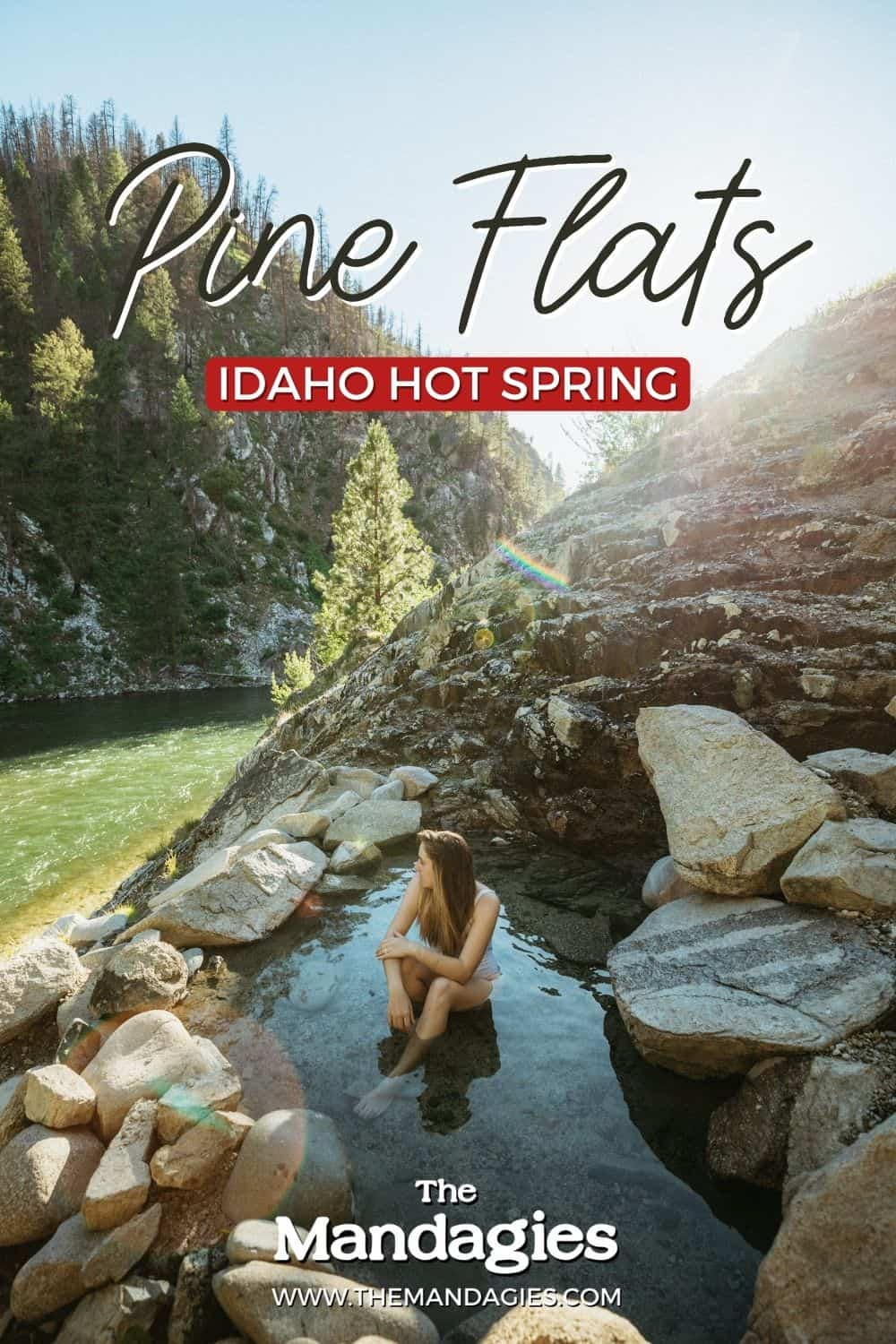 Pine Flats Hot Spring is perched up on the cliffside of the Payette River in Central Idaho. This unique hot springs in Idaho (including a hot waterfall!) has several pools and scenic views and we're sharing everything for your next visit here! #idaho #hotsprings #idahohotsprings #hotspring #boise #centralidaho #winter #payetteriver #travel #idahotravel #adventure #USAtravel #McCallIdaho #photography #sunset #mountains