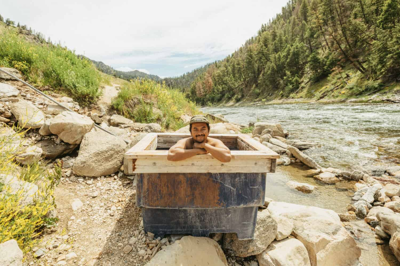 Berty Mandagie soaking at Sunbeam Hot Springs