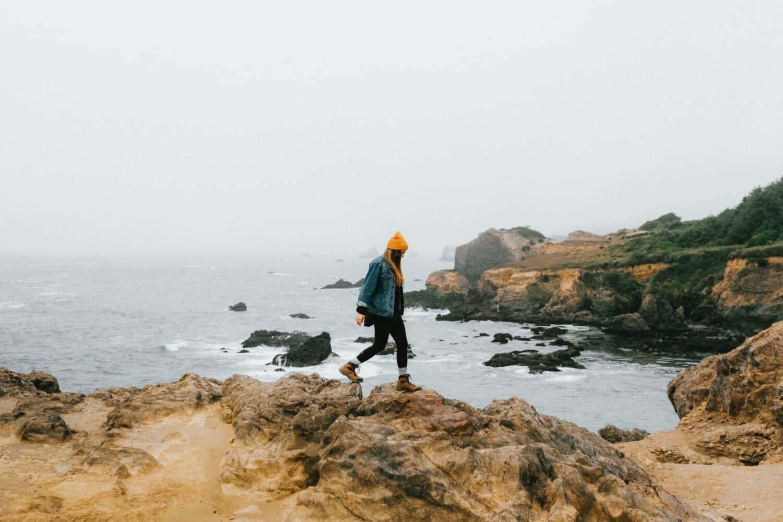 Emily Mandagie hiking near Trinidad, California