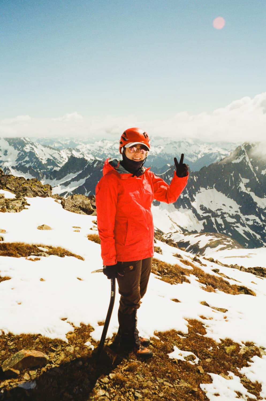 Emily Mandagie climbing Sahale Mountain in Washington
