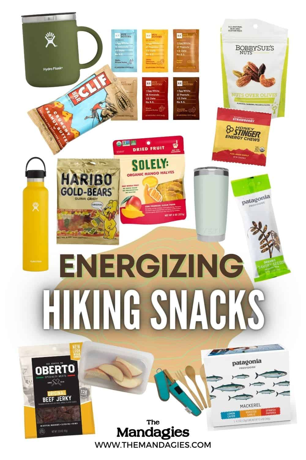 What should you pack for your next fun day hike? We're sharing the best hiking snacks to bring on your backpacking trip, including trail mix, granola, protein bars, dried fruit, healthy fats, nut butter and so much more to keep you energized on your outdoor adventure! #hiking #snacks #healthysnacks #hikingsnacks #proteinbars #trailmix