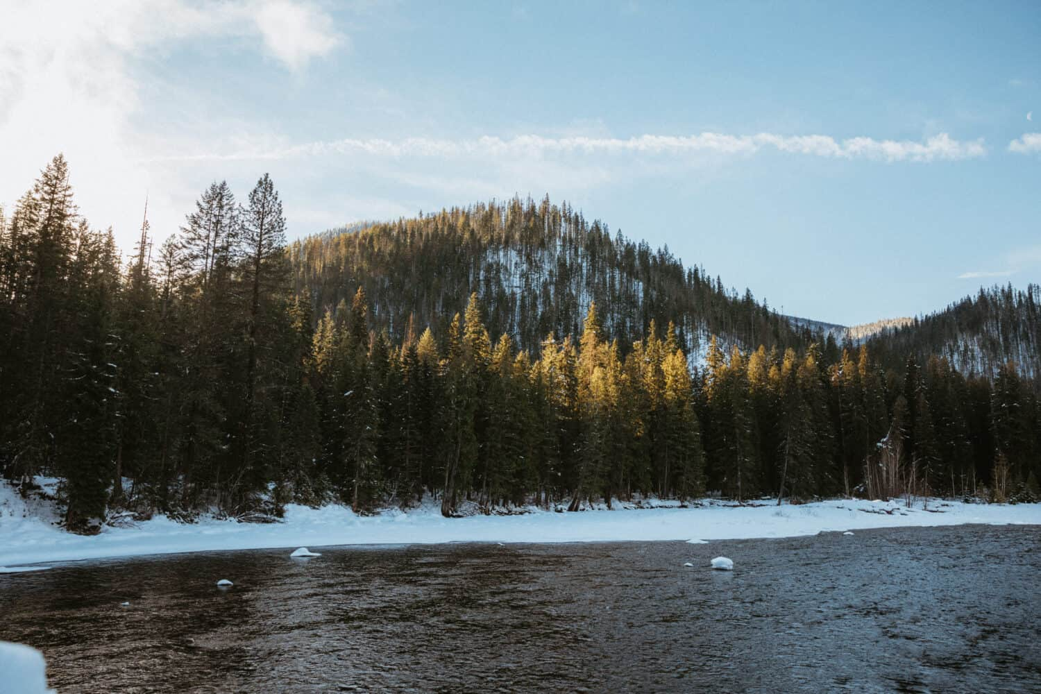 View of Lochsa River in Central Idaho