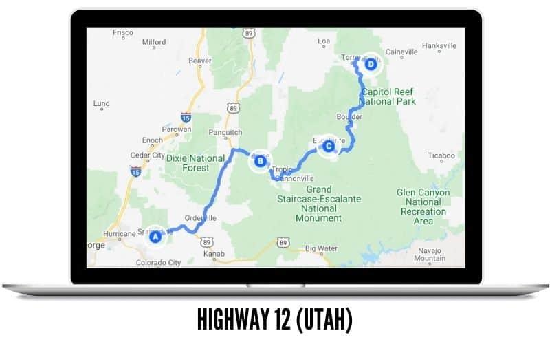 Highway 12 in Utah MAP - West Coast Road Trip