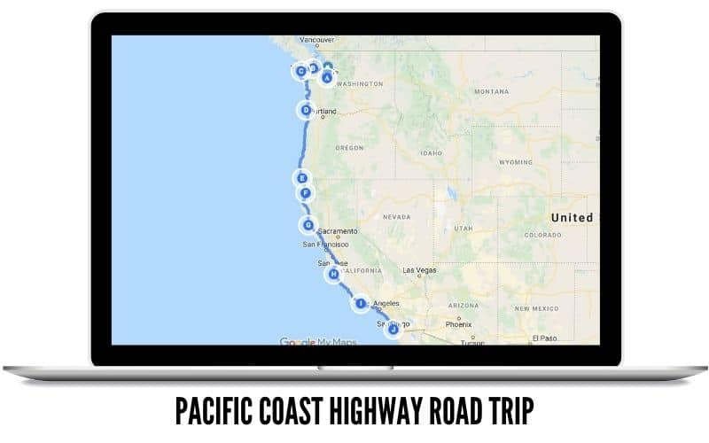 West Coast Road Trip USA Route - Pacific Coast Highway MAP