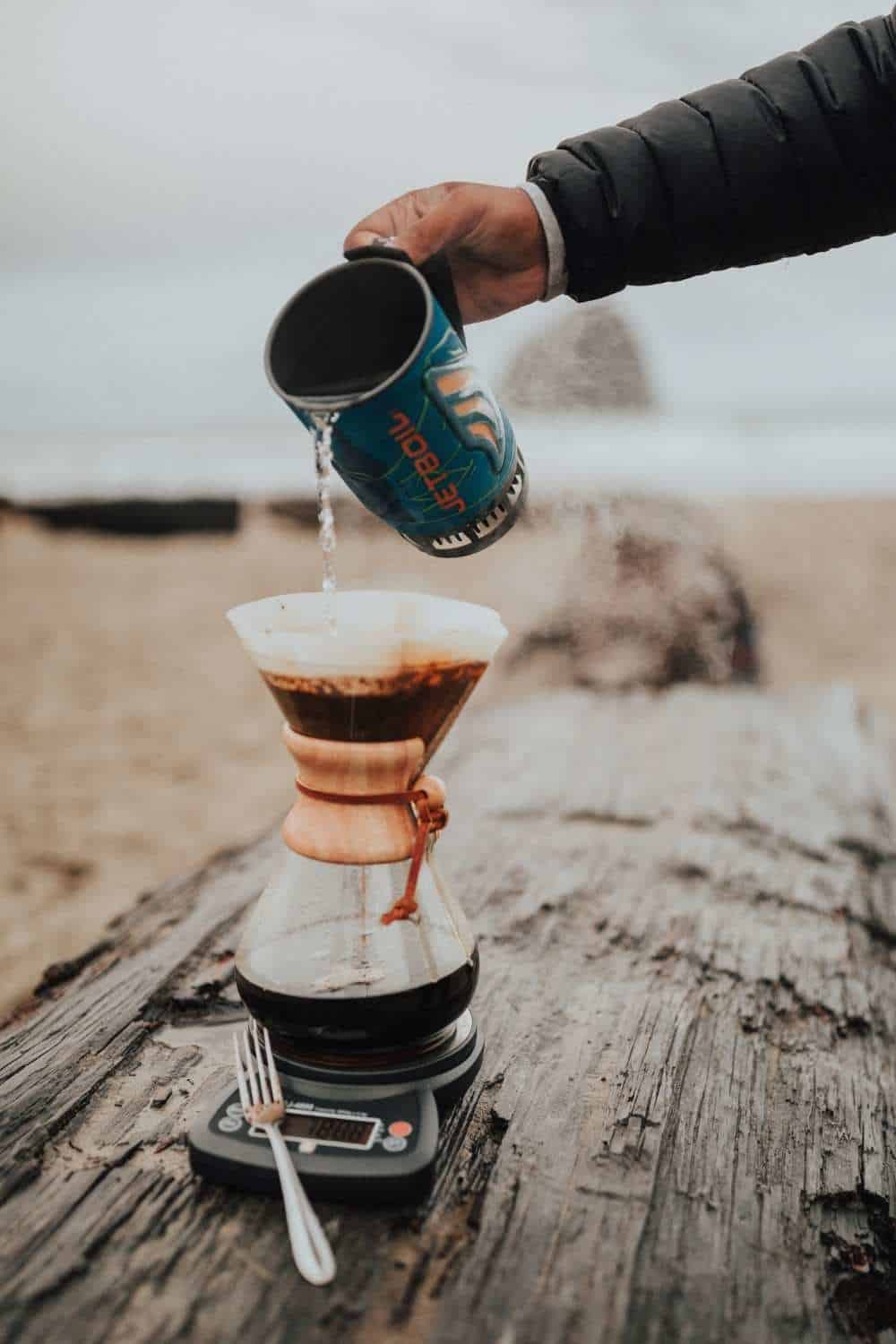 Best Camping Stoves - Berty Pouring JetBoil into Chemex coffee maker
