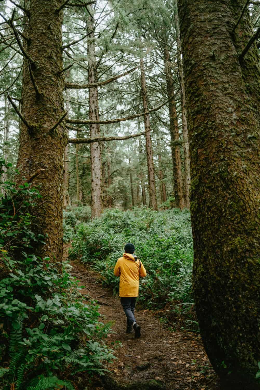 Berty Mandagie walking through Crescent Beach Trail