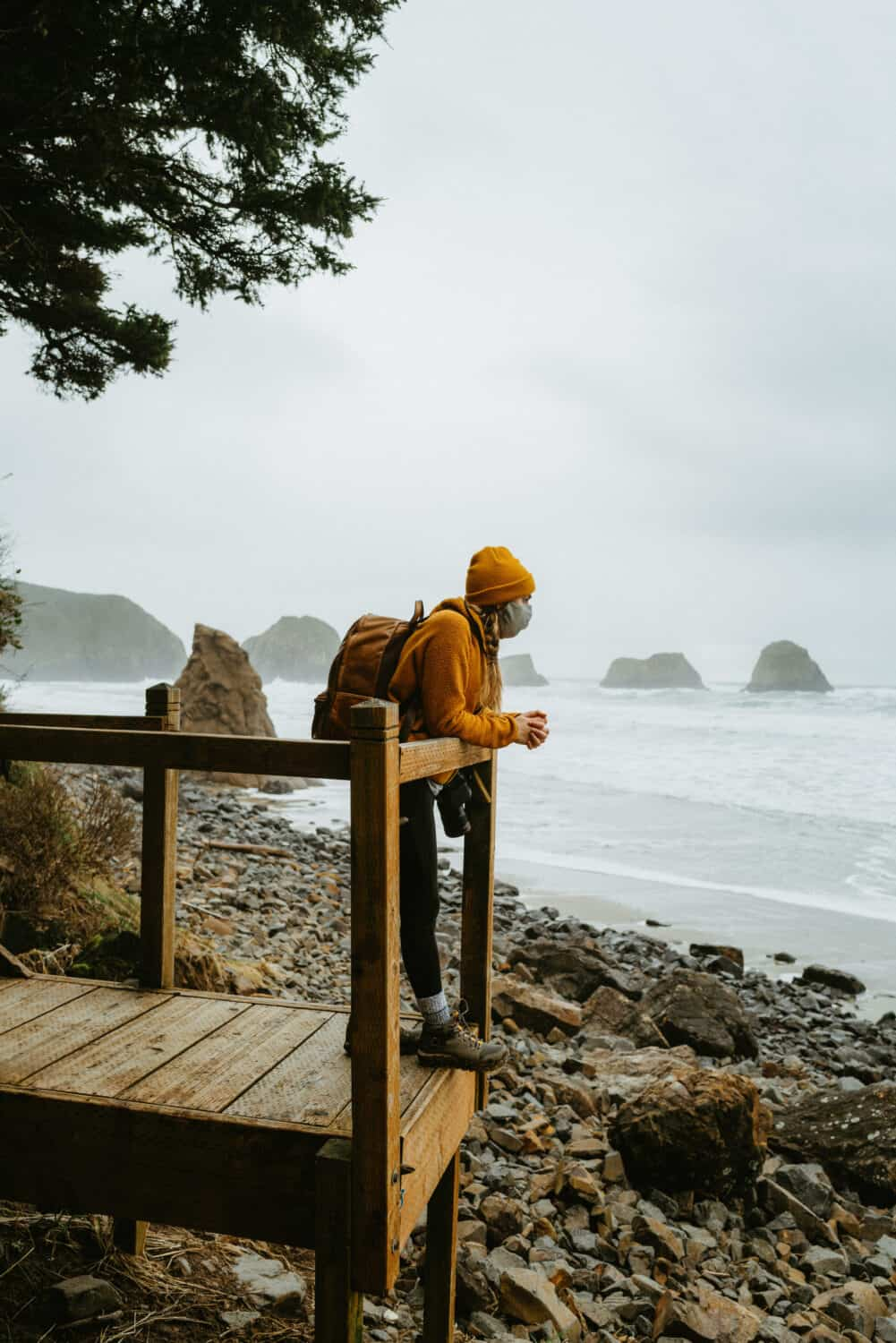 Emily Mandagie at Crescent Beach in Ecola State Park