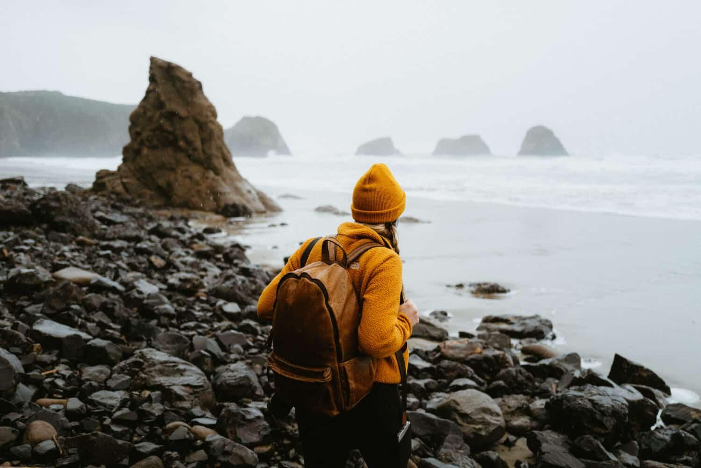 Emily Mandagie looking over to Crescent Beach sea stacks on the Oregon Coast