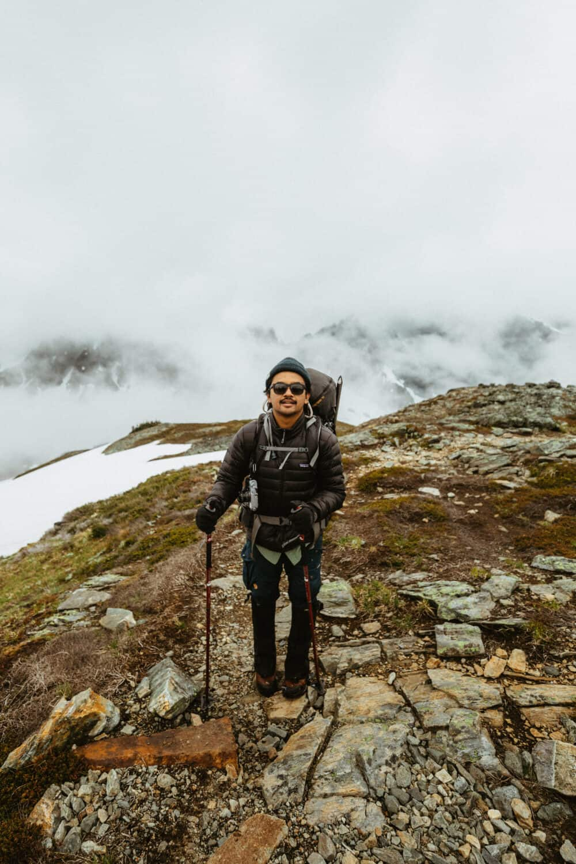 Berty Mandagie hiking to Sahale Glacier Camp