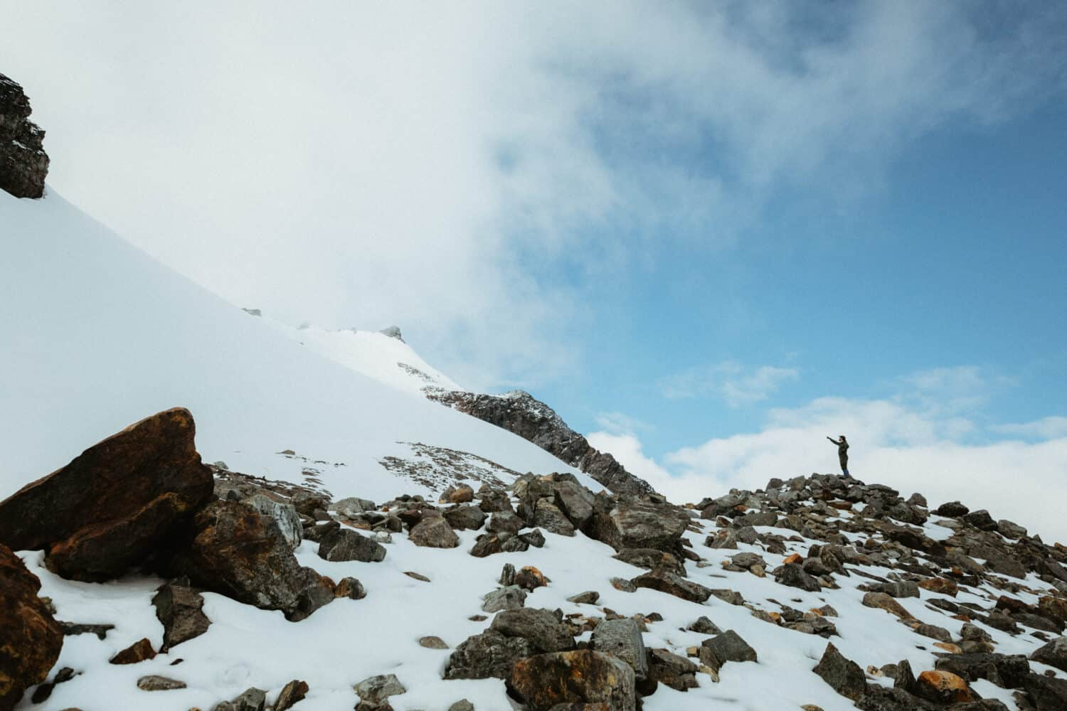 Hiking the steep section to Sahale Glacier Camp in Washington State