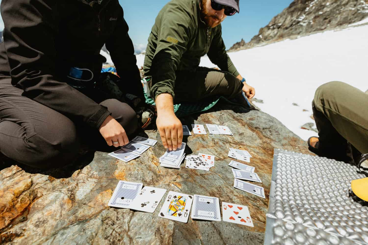 Playing cards at Sahale Glacier Camp