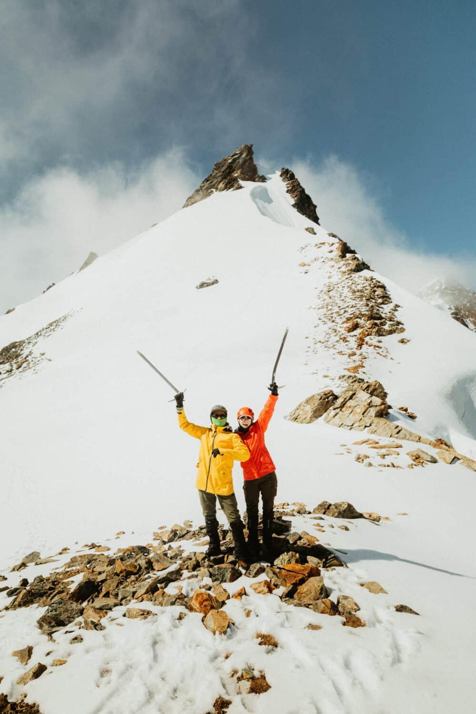 Berty Mandagie and Emily Mandagie hiking Sahale Mountain