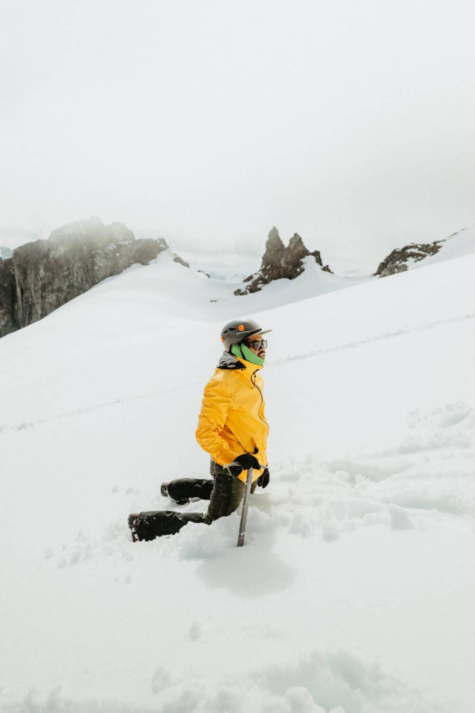 Berty Mandagie climbing Sahale Mountain