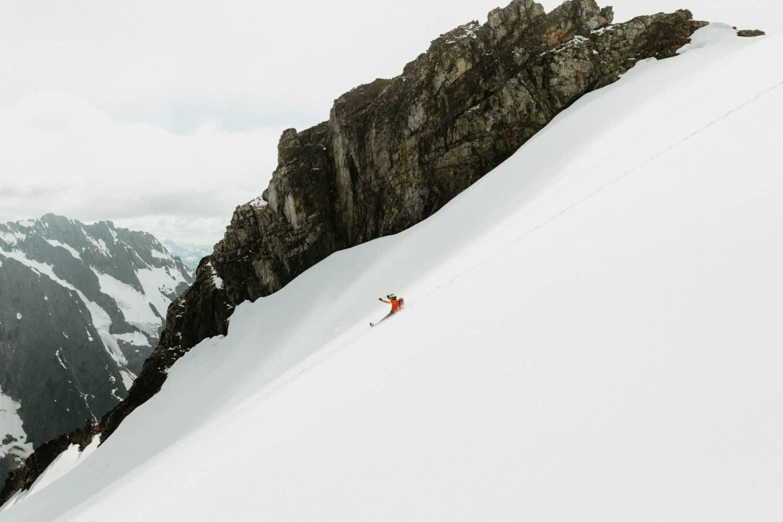 Sliding down the side of Sahale Mountain
