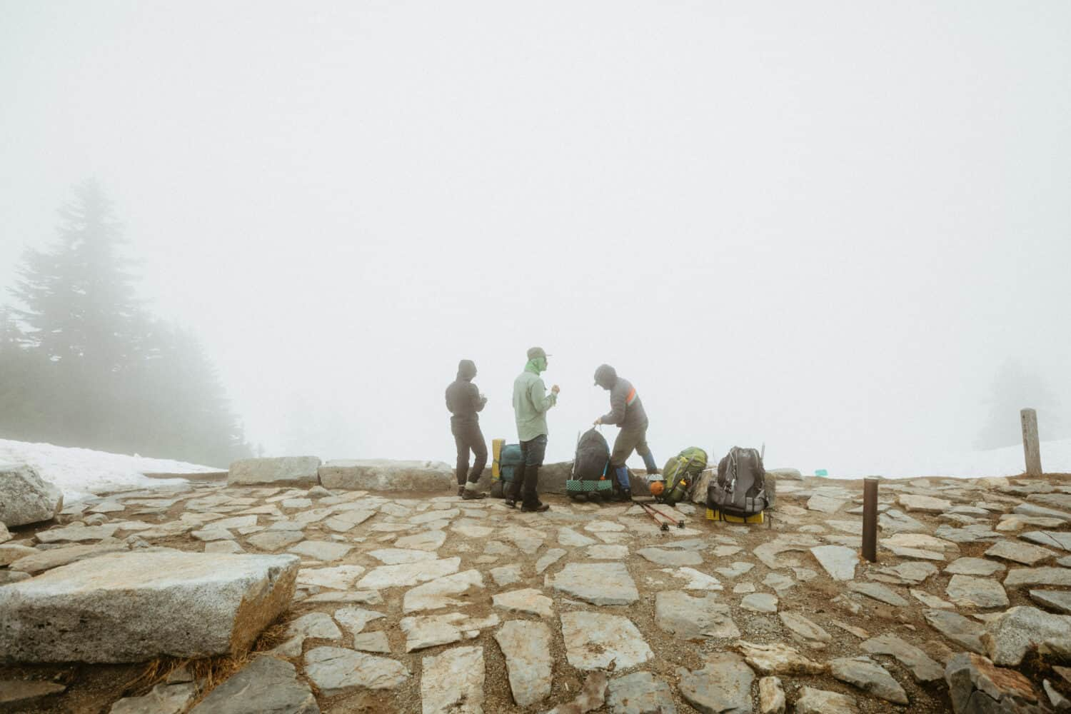 At the top of Cascade Pass during a foggy day