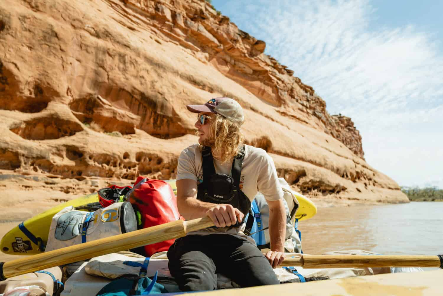 Zac, our OARS river rafting guide. paddling on the Colorado River