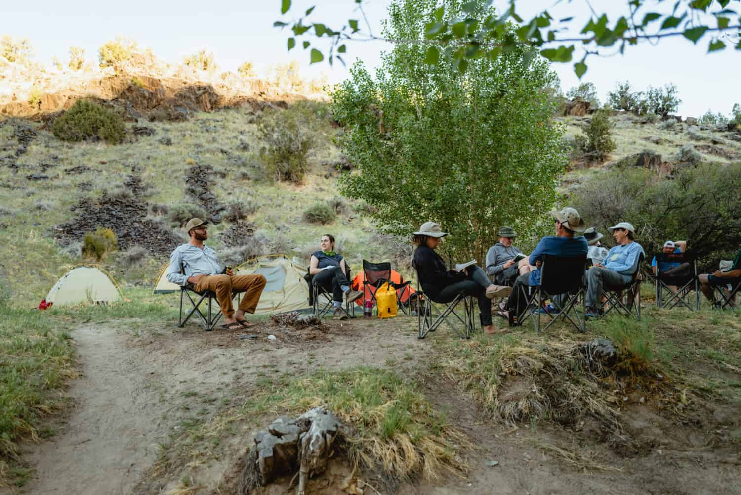 relaxing around the campsite on a Westerwater Canyon rafting trip