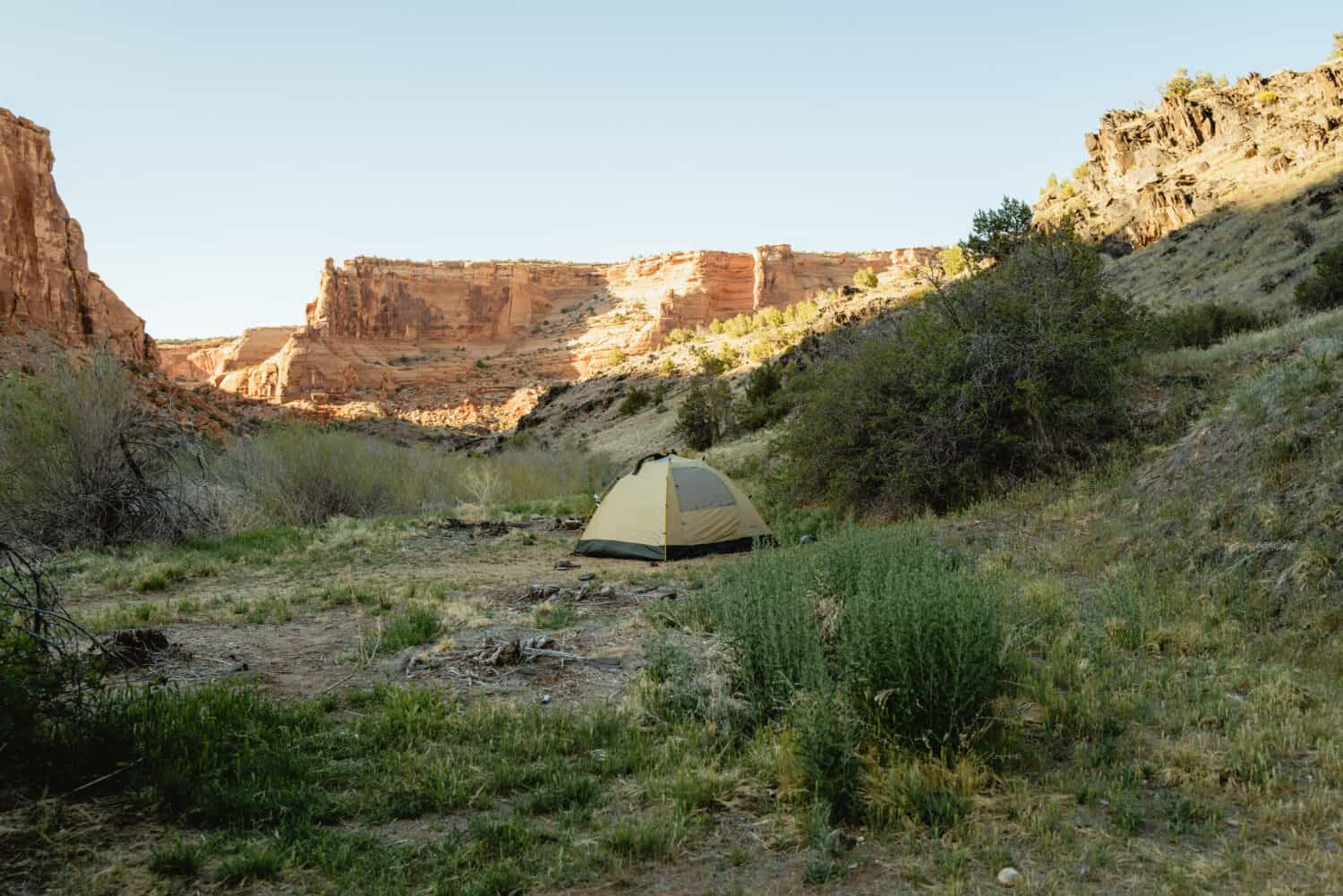 Our tent at sunset in Westwater Canyon in Utah