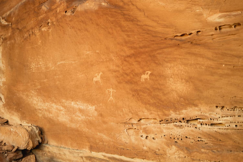 Petroglyphs on the canyon walls in Utah