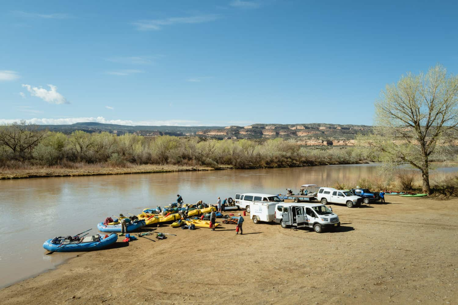 Launching rafting boats in the Colorado River