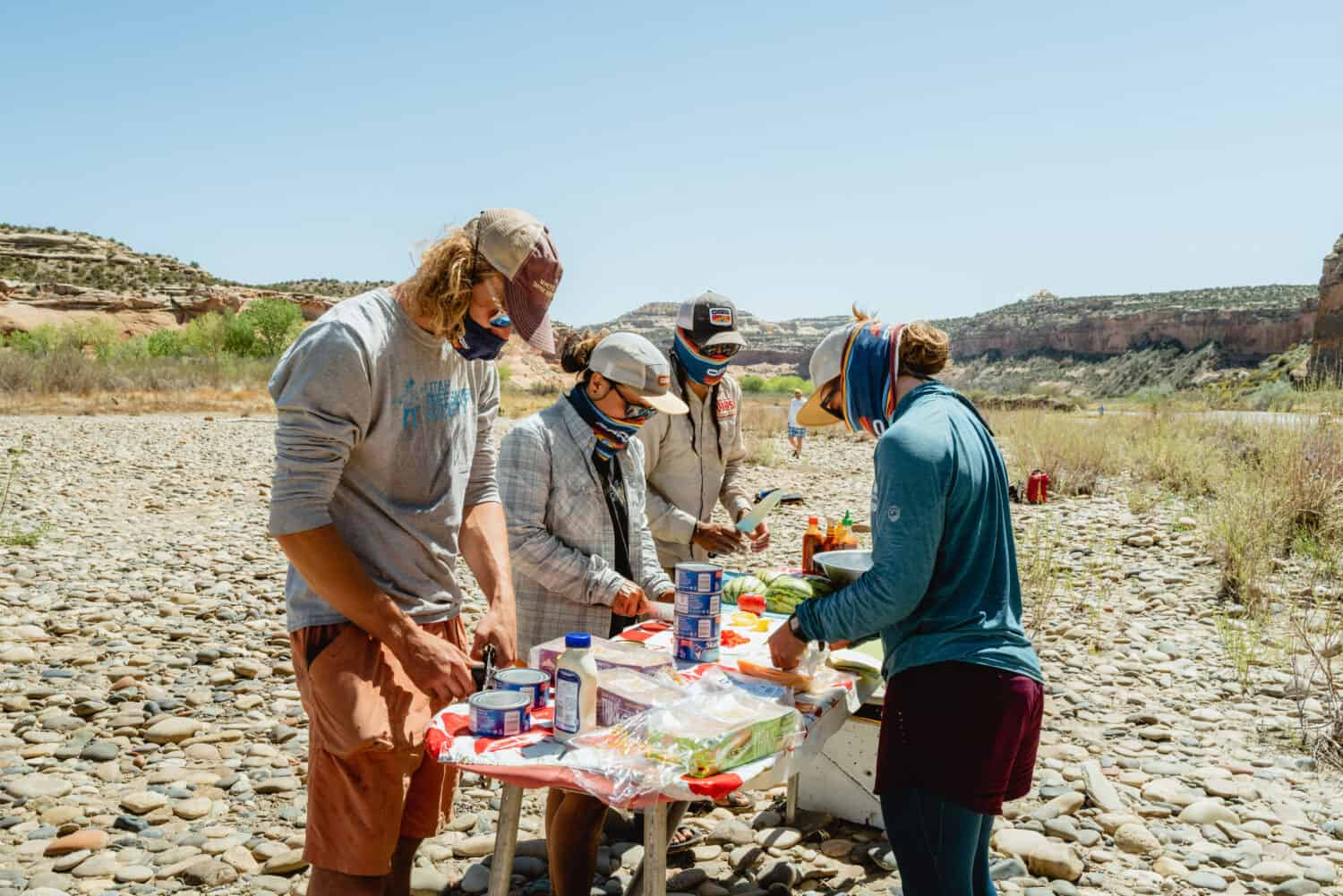 OARS staff preparing lunch on a Westerwater Canyon rafting trip