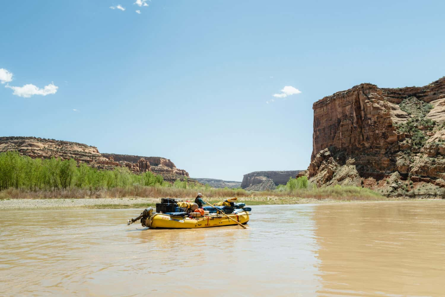 Paddling on the river in Ruby Horsethief Canyon