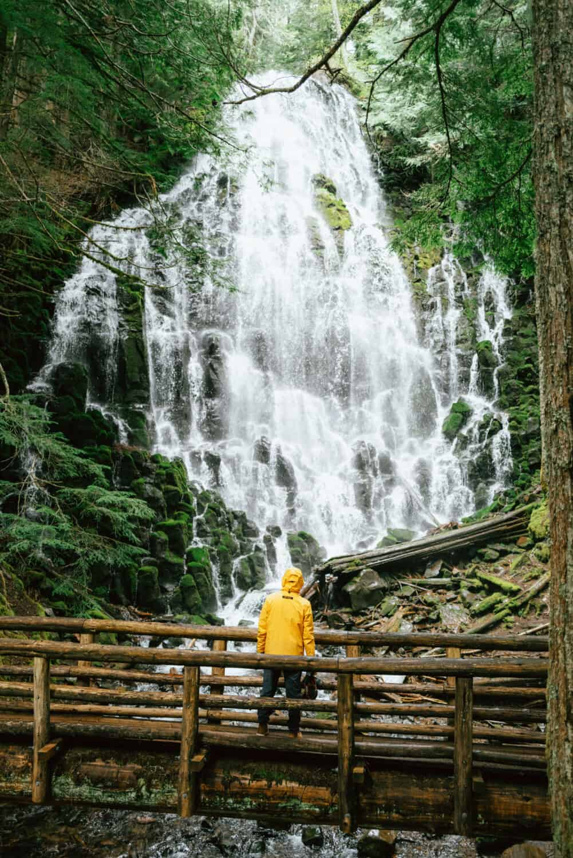 Berty Mandagie standing at Ramona Falls, Oregon