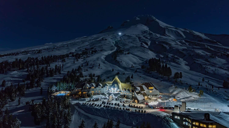Timberline Lodge at night
