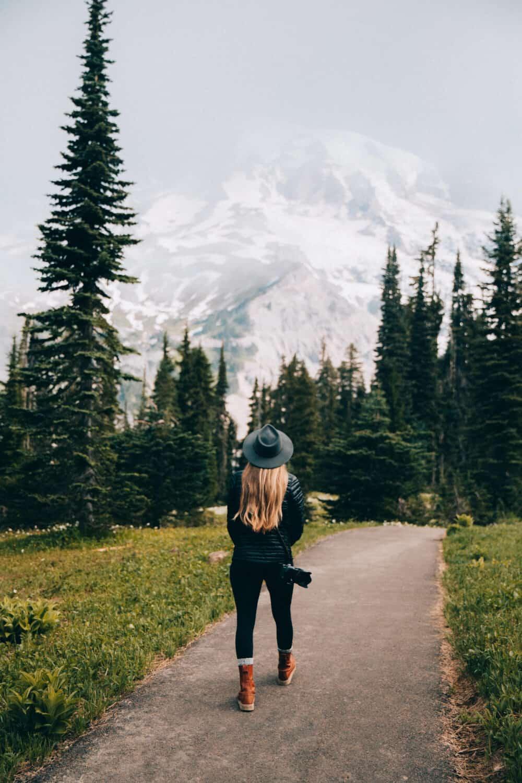 Emily Mandagie walking at Mount Rainier National Park