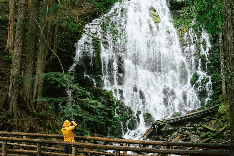 Berty Mandagie standing at Ramona Falls Oregon